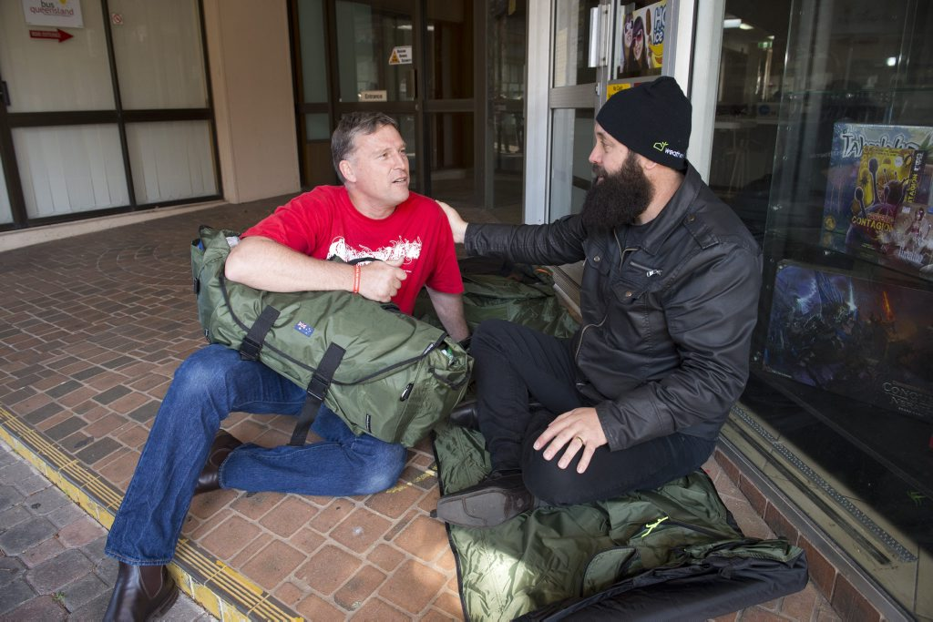 Jon Martlew of Rosies and Basement Soup Kitchen co-ordinator Nat Spary prepare to sleep and eat on the street for Homelessness Prevention Week.