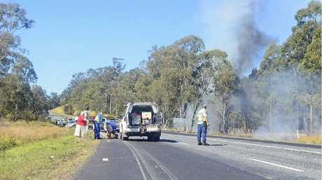 BLAZE: Bushland was set alight as a result of the multi-vehicle collision at Clarenza yesterday. Photo: Clair Morton