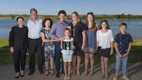 Sister Bree Cropper, parents Barry and Sue Livermore, Brent Livermore, wife Belinda, daughter Zoe, niece Tiahnee, nephew Rhys and daughter Kara after the announcement of Brent Livermore as Clarence Valley Council Ambassador.Photo: Adam Hourigan