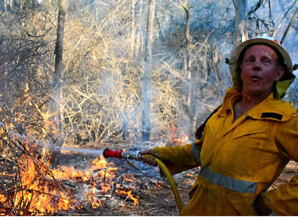 ON THE JOB: Peter McCauley maintain the burnoff in Benarkin.