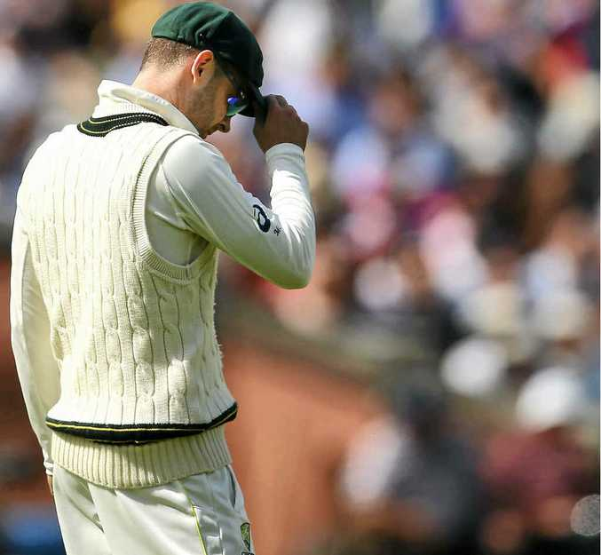 DEJECTED: Michael Clarke looks on during day three of the third Test.