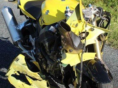 Motorcycle involved in Dumbleton crash on Friday
