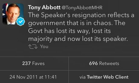 What Tony Abbott tweeted after Harry Jenkins resigned as Speaker to make way for Peter Slipper.