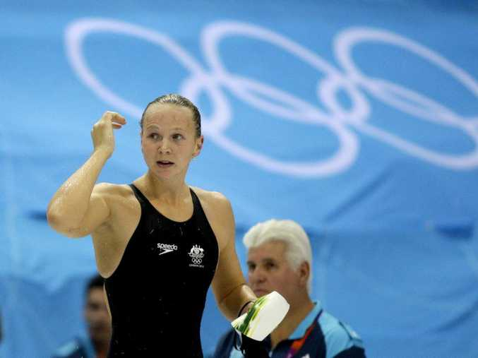 Melanie Schlanger (now Melanie Wright) pictured during the 2012 London Olympic Games, where she scored her second Olympic gold medal. PHOTO: AP Photo/Matt Slocum.