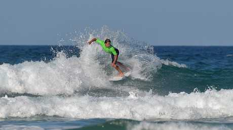 Pro surfer Julian Wilson is back on the Sunshine Coast for a quick surf at Coolum before heading back out on the world tour. Photo: Warren Lynam / Sunshine Coast Daily