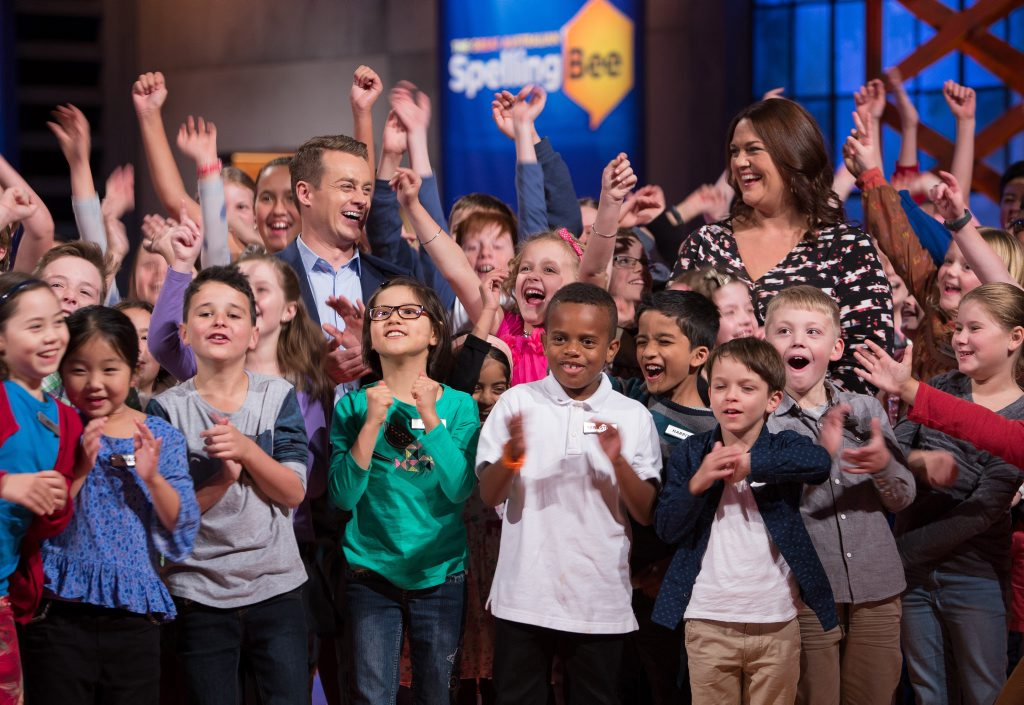 Grant Denyer and Chrissie Swan pictured with contestants from The Great Australian Spelling Bee.