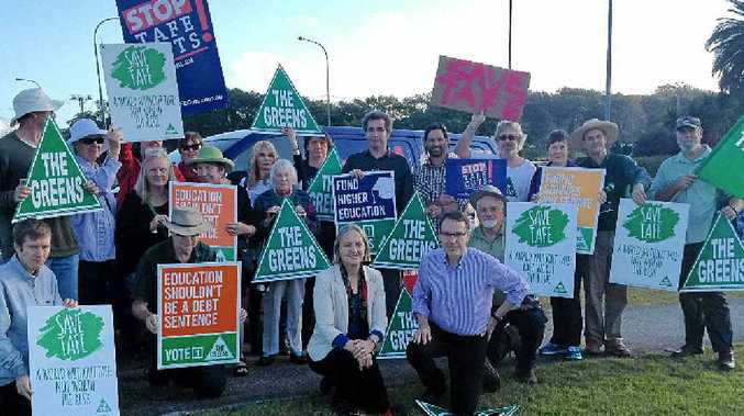 SPEAKING OUT: The Greens NSW rally at Coffs Harbour in response to TAFE funding.