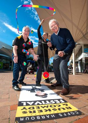FUN IN THE CITY: Buskers Festival organiser John Logan announces the return of the event to the city centre with Rod McKelvey and Kim Towner of the CBD Masterplan committee yesterday.
