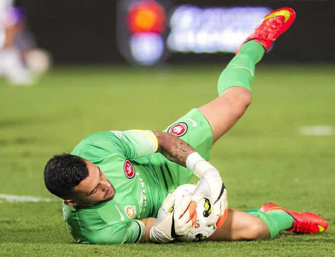 IT'S MINE: Wanderers goalkeeper Dean Bouzanis.