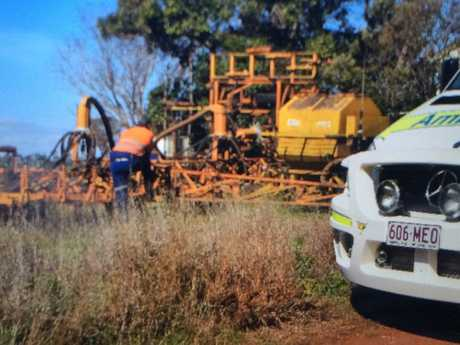 Emergency services at the scene of a farm accident near Dalby.