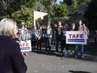 Protesters march against TAFE cuts in Grafton in August 2015.