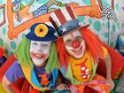 Popular Brisbane party clowns (LtoR) Dagwood and Peebo are filming on the Sunshine Coast. The two twins were born with cystic fibrosis and had double lung transplant few years back and are proving laughter is the best medicine. Photo Patrick Woods / Sunshine Coast Daily