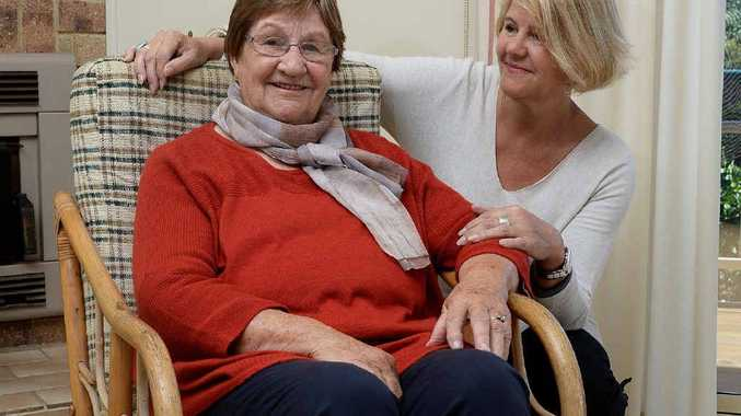MOVING STORY: Parkinson Disease sufferer Elaine Milner of Lennox Head with her daughter Kerryn Meanwell, trying to get Parkinson's Disease sufferers to get together in an action group.