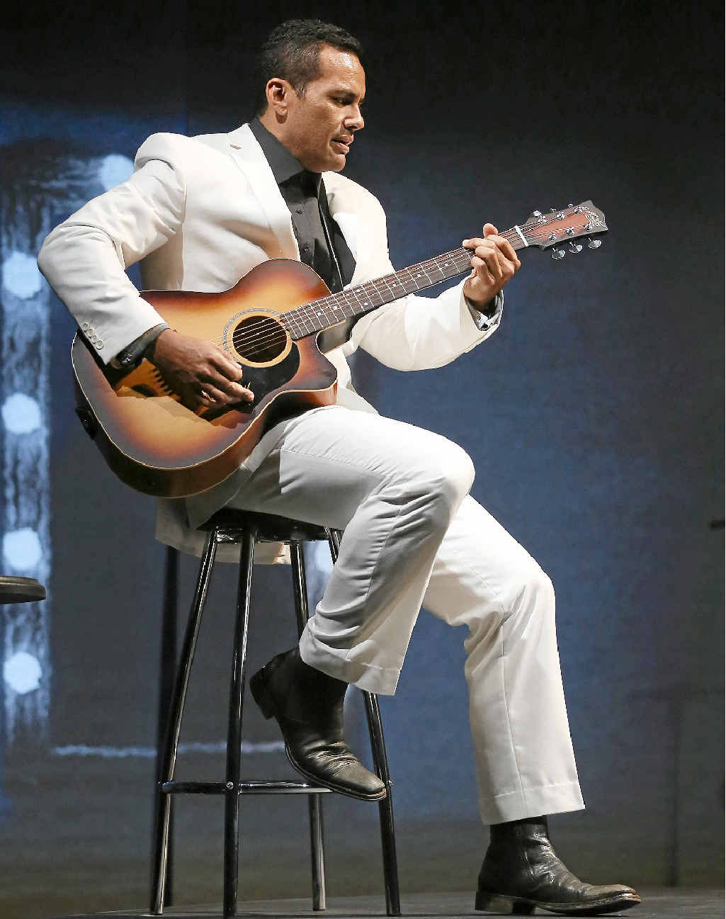ON STAGE: Singer and actor Michael Tuahine as Jimmy Little in Country Song.