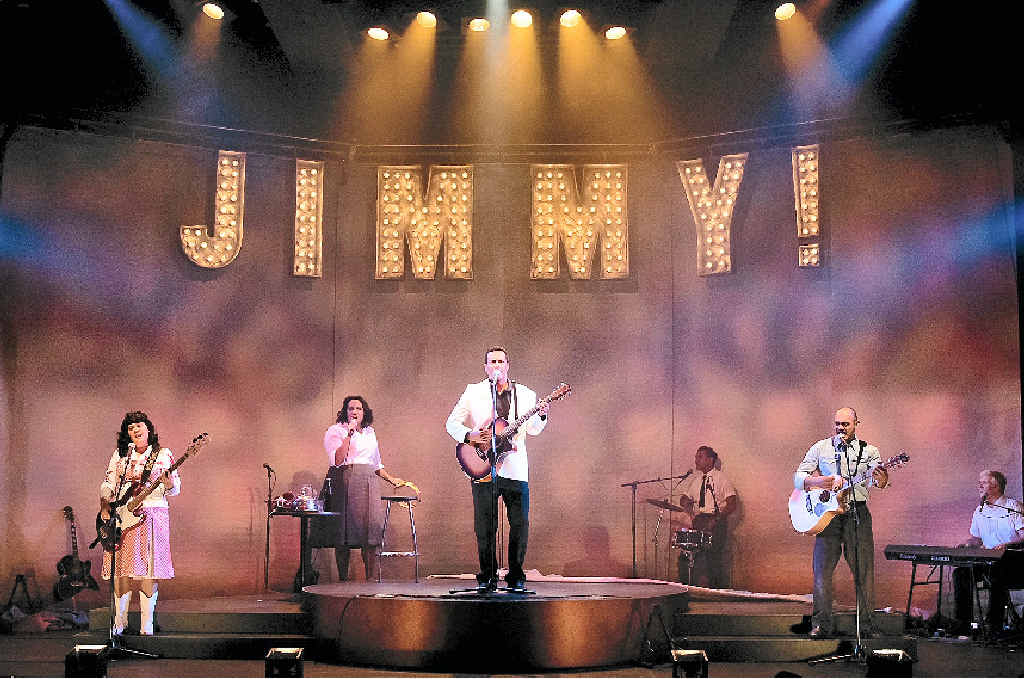 Megan Samardin, Elaine Crombie, Michael Tuahine, Tibian Wyles, David Page and Bradley McCaw on stage during a performance of Country Song. Pictured below left is Australian singer Jimmy Little.