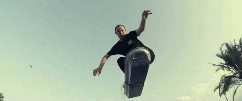 Lexus hoverboard test rider Ross McGouran gets some air