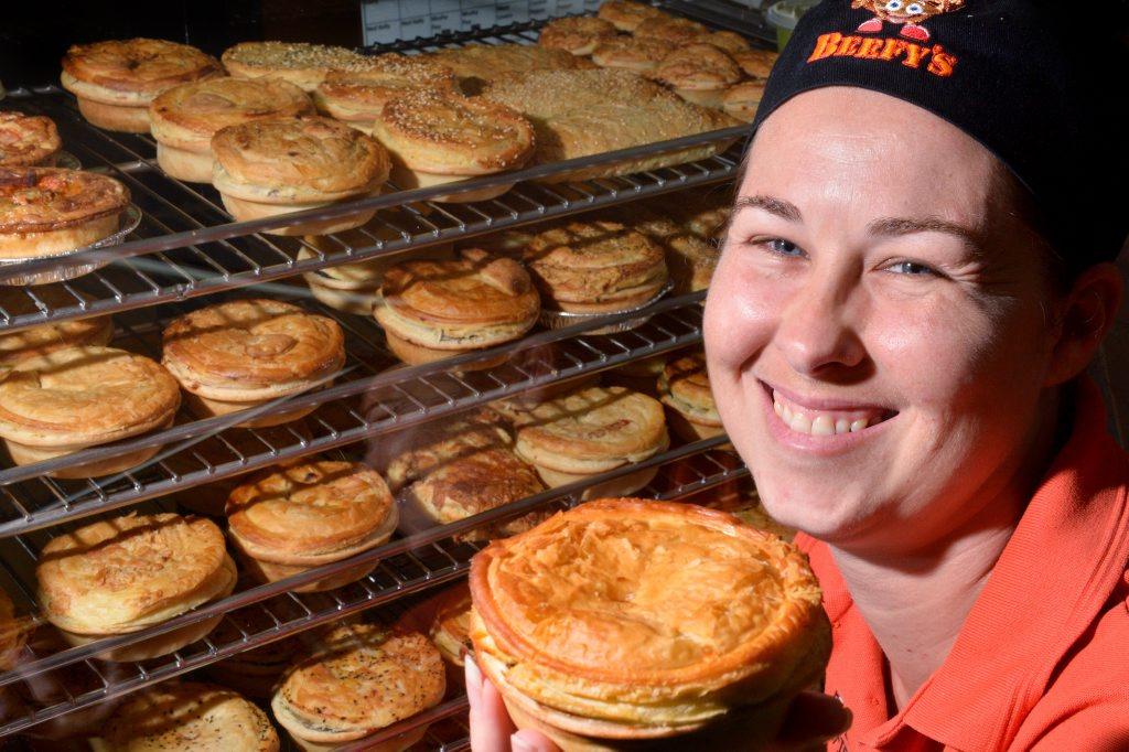 Mrs Debbie Howell of Beefy's in Buderim with the award winning pie. Photo: John McCutcheon / Sunshine Coast Daily