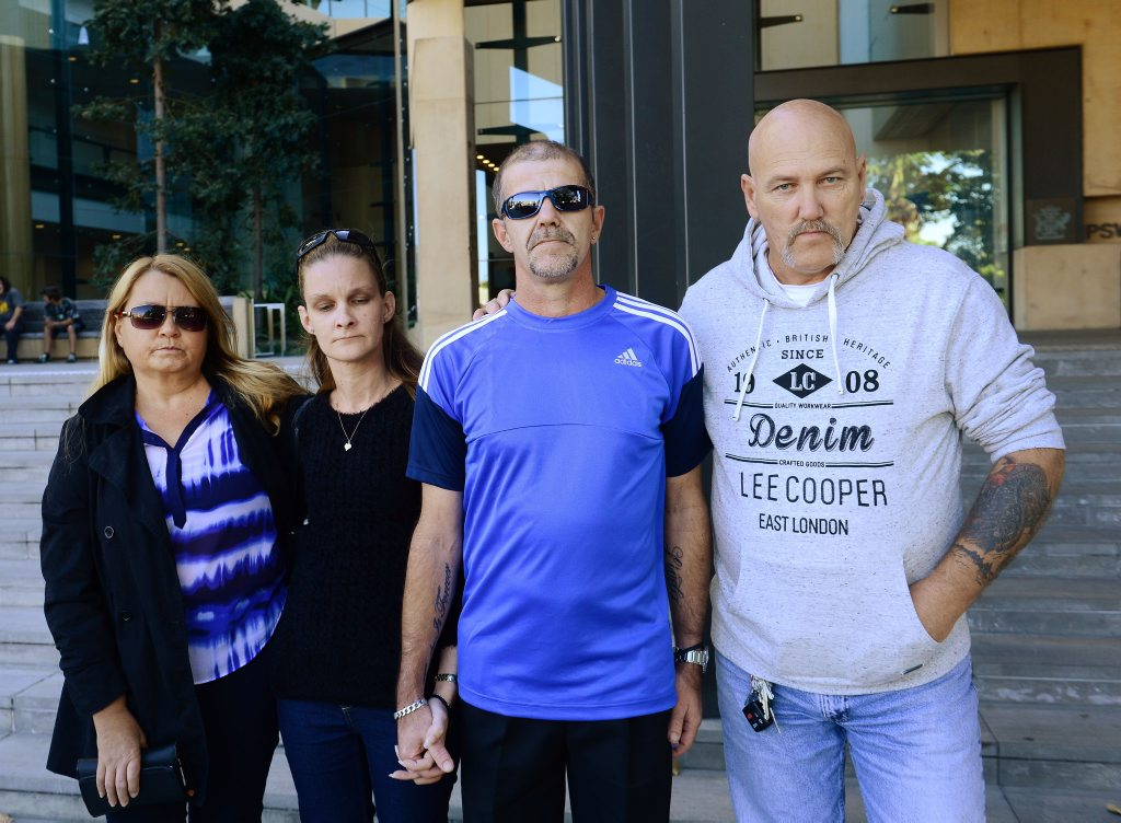 GRIEVING FAMILY: The family of alleged one-punch victim Lindsay Ede from left, Kim Stevens, Linda and Terry Bishop and Greg King outside Ipswich Courthouse.