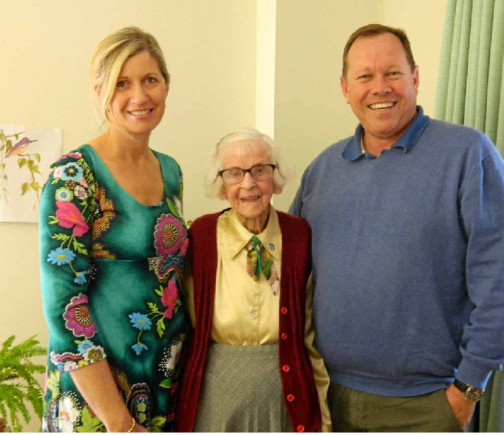 Sister Dolores kept in contact with former Saint Mary's student Cathy Jackson and current principal Michael Nayler.