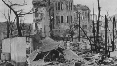 Photo of what became later Hiroshima Peace Memorial among the ruins of buildings in Hiroshima, in early October, 1945