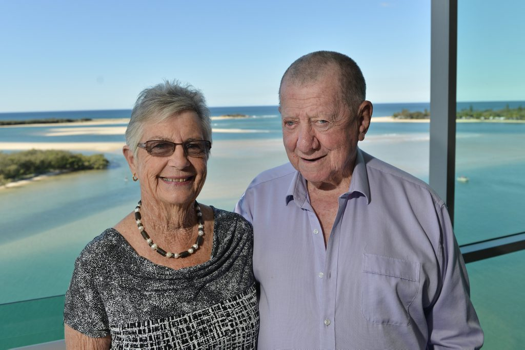 Roy and Nola Thompson have extended their support to the University of the Sunshine Coast, donating a building at Birtinya following the donation of the University car park income from which will fund 523 years worth of bursaries and scholarships. Photo Patrick Woods / Sunshine Coast Daily