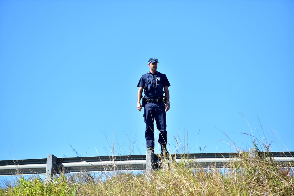 A police officer watches from the side of Maroochydore Rd to ensure a loose cow does not get in the way of motorists.