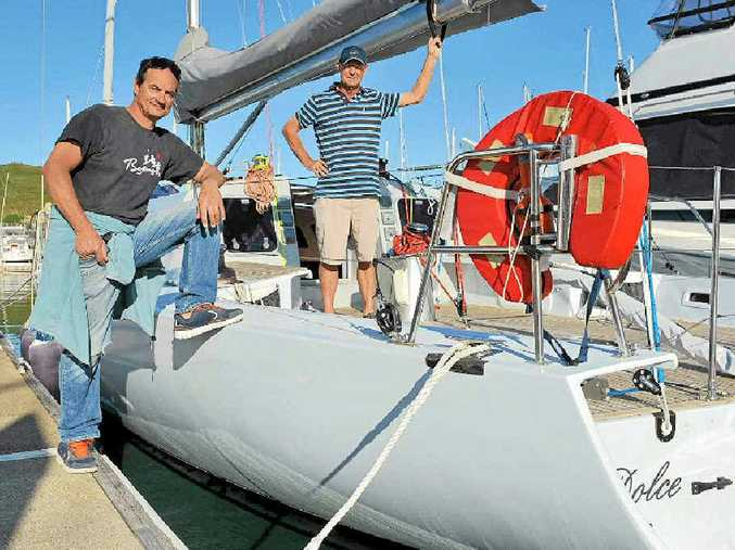 HIGH TIMES: Pierre Gal and Doug Gayford will set sail for the Sydney to Hobart Yacht Race this year following the restoration of their yacht, Dolce.