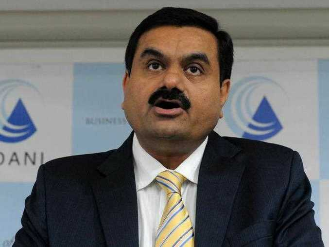 Gautam Adani speaks during a press conference in Ahmedabad.