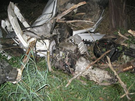 The remnants of a car that left Lake Macdonald Road in Cooroy and hit a tree on August 6, 2015,
