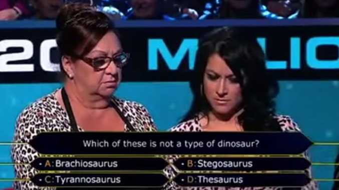 Christina and Tanya from Perth have a tough time working out the difference between a dinosaur and a textbook