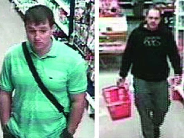 Police are hoping the public can help identify these two men in relation to a spate of supermarket thefts.