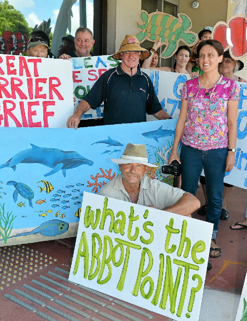 PASSIONATE DEFENCE: Ellen Roberts (right) with protestors Christopher Dunn (front) and Gordon Johnson protesting against plans to dump dredged material at Abbot Point.