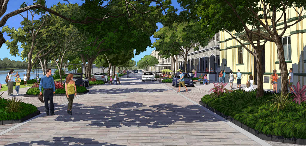 SHARED SPACE: This artist's impression shows Quay St's future as a 'shared space' for traffic and pedestrians.