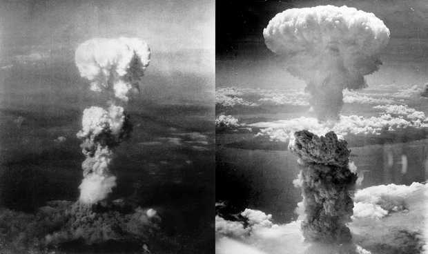 Atomic bomb mushroom clouds over Hiroshima (left) and Nagasaki (right) Photo Wikipedia