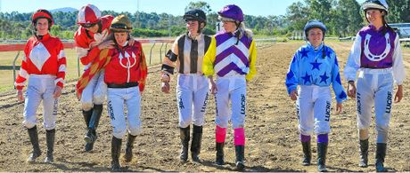 WOMEN SHINE: Kelly Gates, Tracy O'Hara, Natalea Summers, Hannah Phillips, Zoe White, Jessie Philpot, and Nicole Vuille made up the entire field of jockeys for the Gladstone Cup at Ferguson Park racecourse on Saturday.