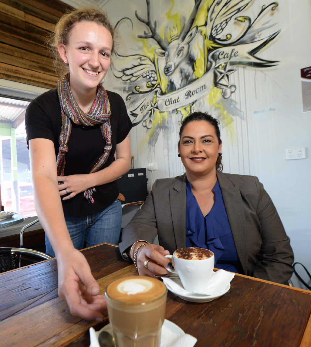 ORDER UP: Chat Room barista Laura Ross is hoping more people like Karen Abrahams reach out and pay it forward.