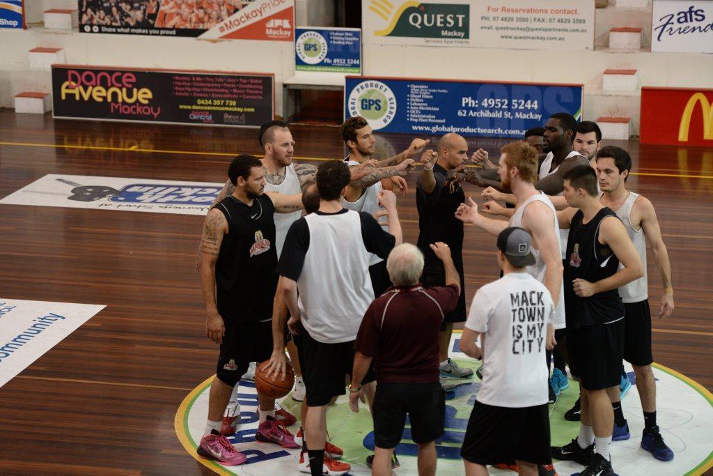 Mackay Meteors coach Joel Khalu and the team in a training session at Mackay Stadium.