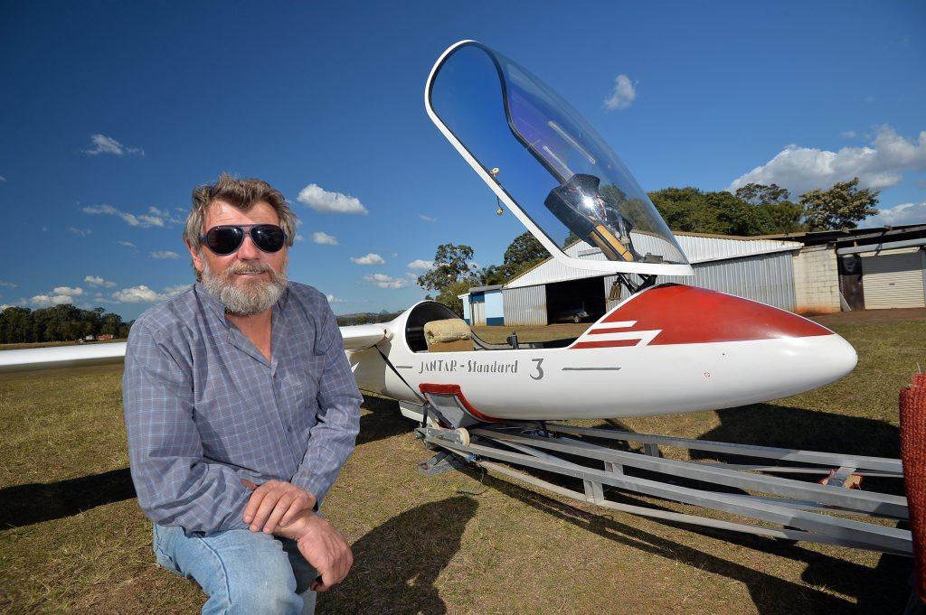 Trevor Burke of Gympie Gliding Club at Gympie's Kybong aerodrome.Photo Patrick Woods / Gympie Times