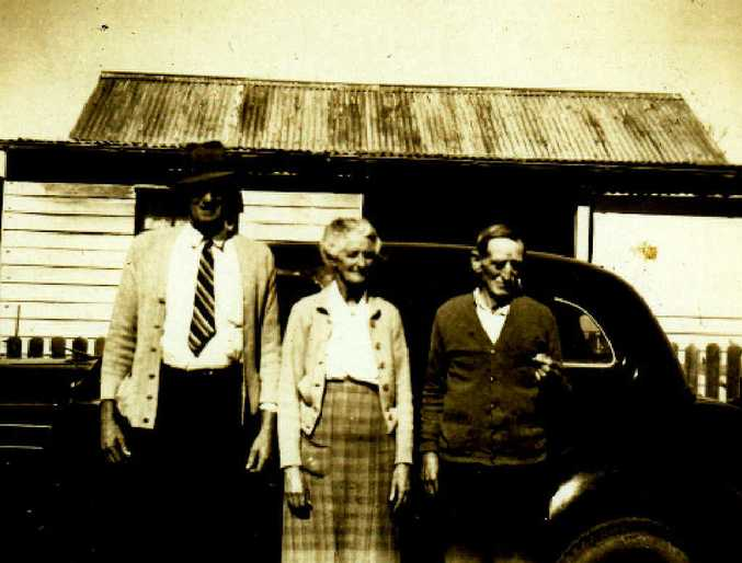 OWNERS: Robert Henry 'Harry' Hammond with his wife Elizabeth and a friend on the Woody Head homestead.