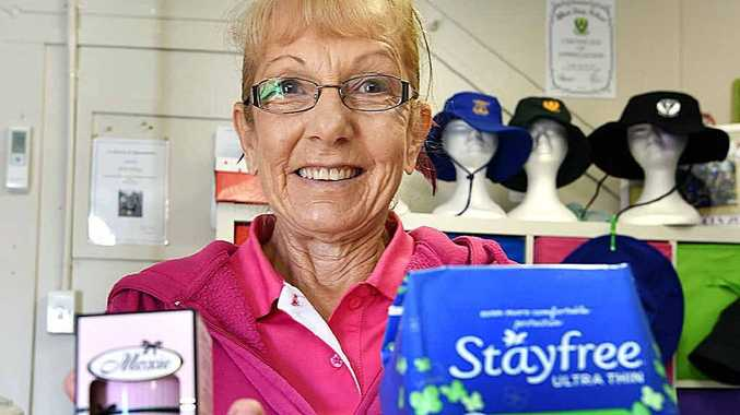 THOUGHTFUL ACT: Maryborough's B and H embroidery shop owner, Bev Thatcher, volunteers to collect donations for the homeless Share the Dignity charity.