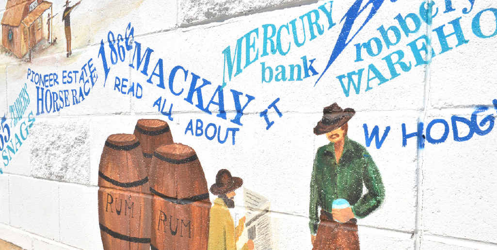 The Mercury features during 1866 in the River Port History of Mackay mural.
