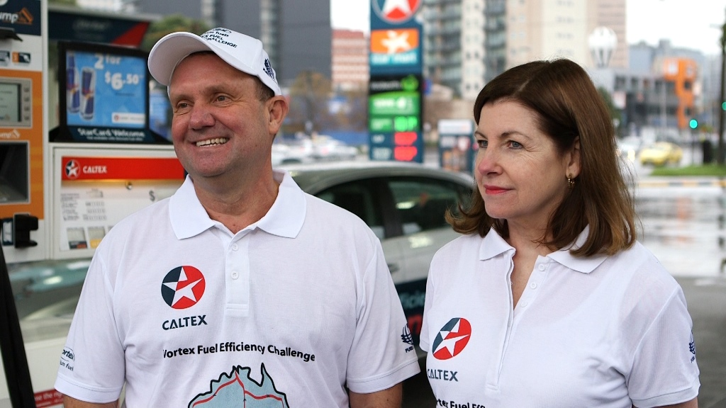 John and Helen Taylor are taking a 38-day trip around Australia to promote fuel efficiency.