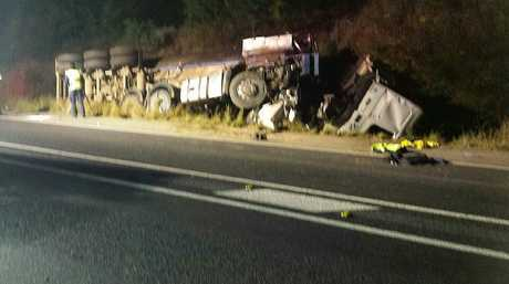 The scene of a fatal truck crash on the Cunningham Highway at Mutdapilly on Tuesday morning. Photo: Contributed
