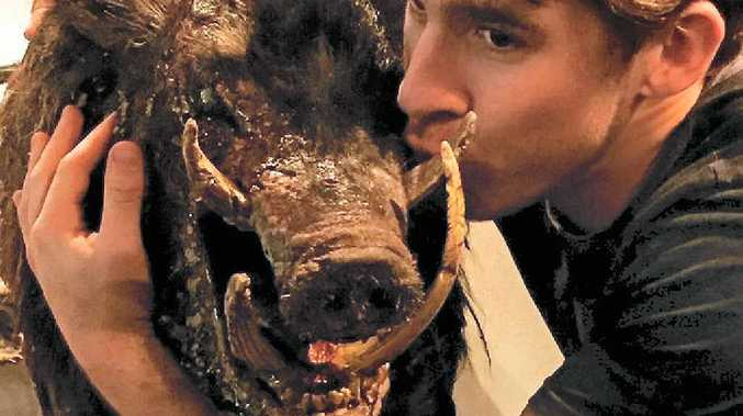 CUDDLE UP: Hugh Sheridan announced his arrival in Gympie at the weekend, tagging himself in this selfie with a prop from the movie.