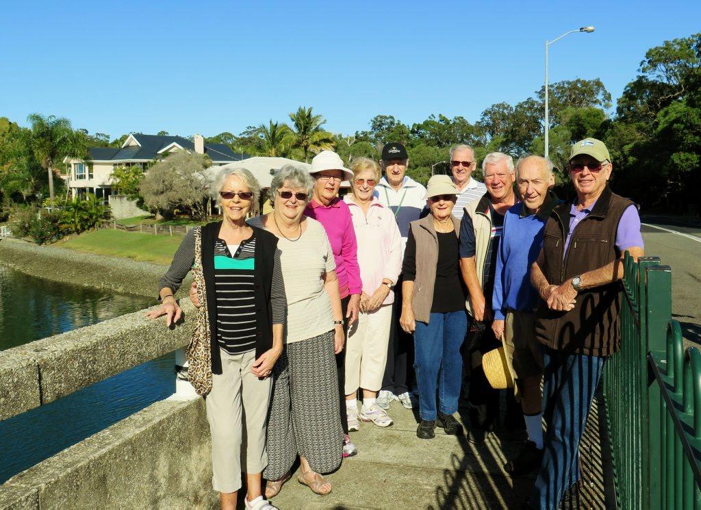 Burleigh Waters Probus Walking Group in Tallebudgera Creek area.
