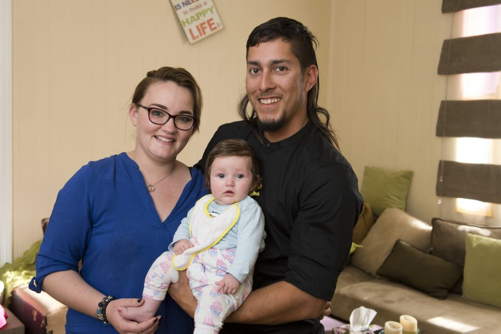 Toni Kenny and Alex Alamos, with their daughter Millie Alamos.
