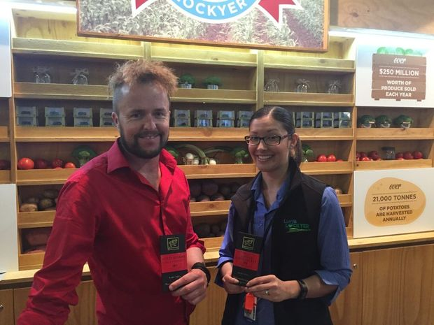 Lockyer Valley produce stand at the Ekka featuring Jason O'Conner from Seaton Fire Chilli Chocolate at Murphys Creek and Michelle Brown from LVRC. Picture: Adam Davies