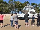 41ft cruiser beached on Torquay Beach. Photo: Alistair Brightman / Fraser Coast Chronicle