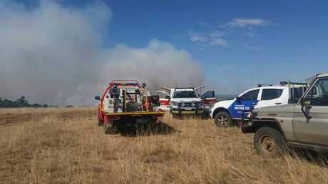 FIRE SERVICES: Twenty rural and urban fire crews fight the fire. Photo Keagan Elder / South Burnett Times