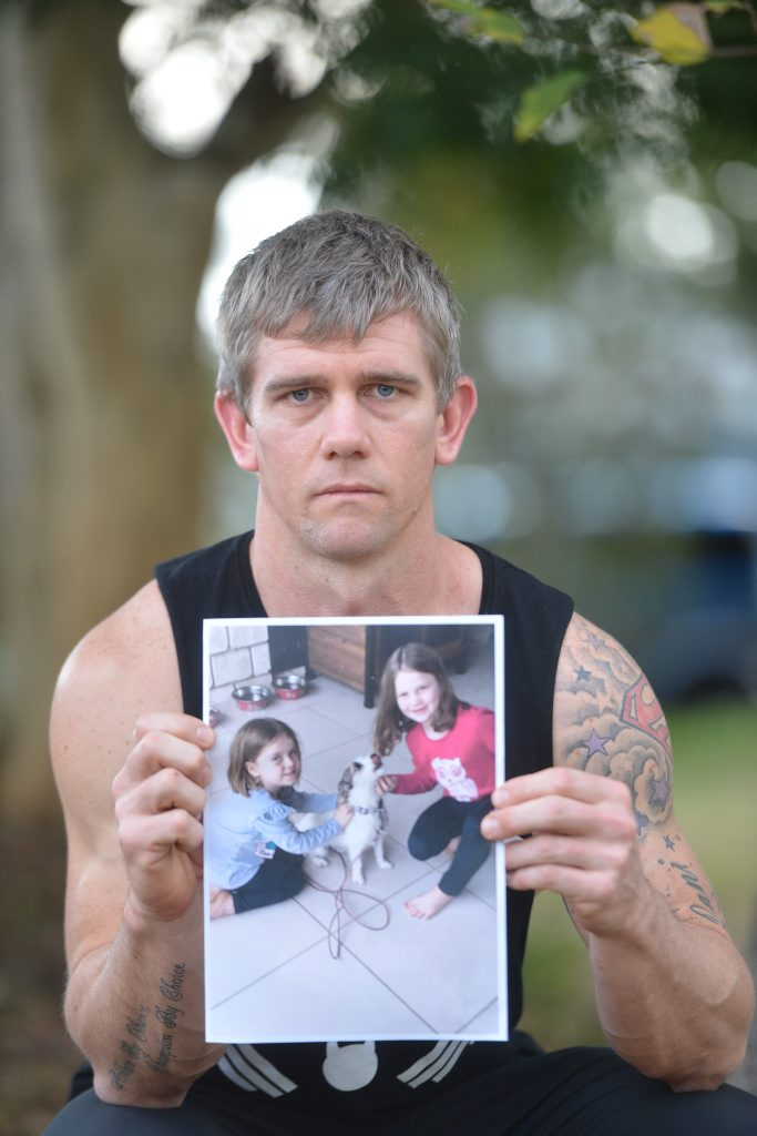 DOG GONE: Father of two Adam Cross is concerned a dog that killed the families pet could have taken one of his daughters. Photo Craig Warhurst/ The Gympie Times